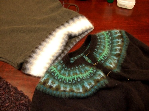 Two Bohus sweaters in progress