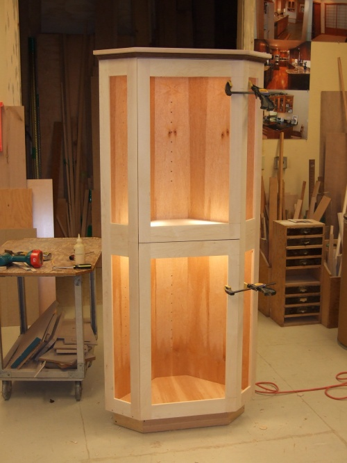 glass display cabinet in progress
