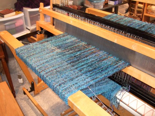 boucle shawl underway on the loom