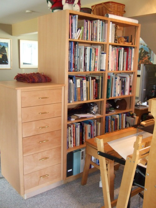 loom-side bookcase and storage cabinet