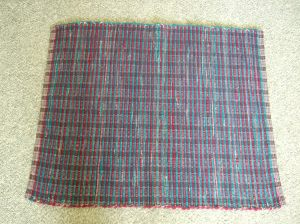 wool blanket, each side a different color, cut in strips
