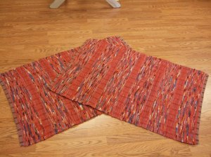 Pendleton blanket edge selvage, brick reds, made two alike