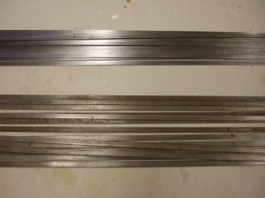 Heddle bars, clean (above) and rusty (below)