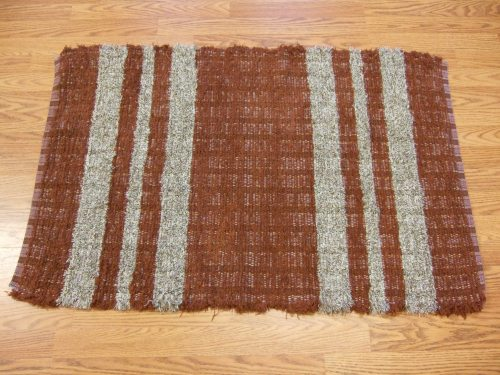 "Rust & tan fringed selvages, probably cotton, 42"" long"