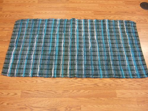 "Green, teal and bright turquoise denim and corduroy, 51"" long.  Reminds me of breakers coming on shore."