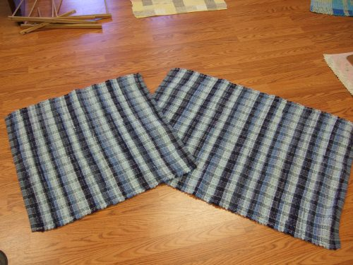 """9 shades of blue cotton corduroy, 28"""" x 27"""" and 28"""" x 38"""""""