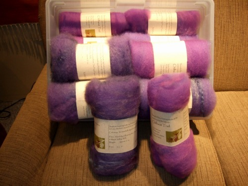 Box full of spinning batts