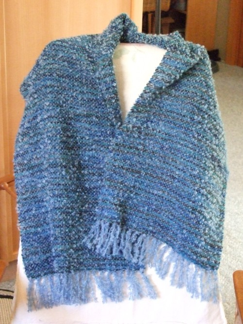Sky blue boucle with black alpaca, 3 alike