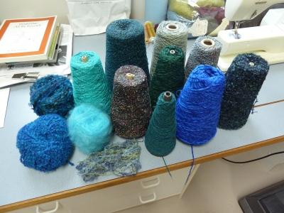 blue-green warp yarns
