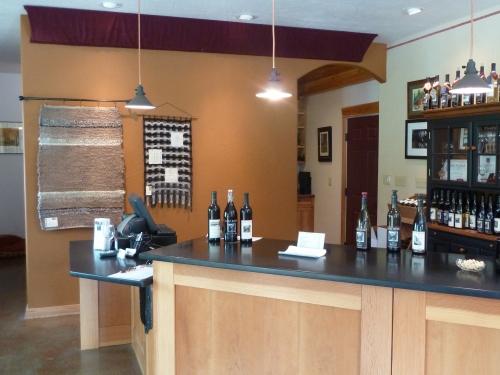 back wall behind the tasting bar