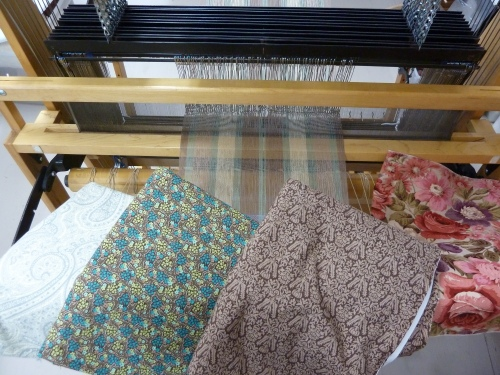 placemat warp and fabrics ready for action