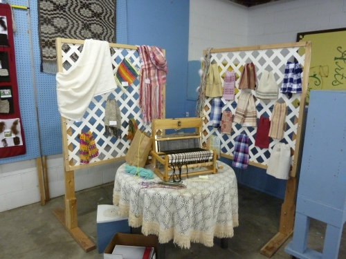 a display of woven items from the Shear Creative Guild in Omak