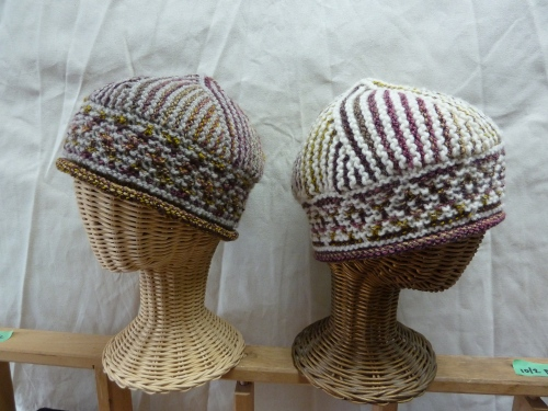 Two hats from handspun yarn