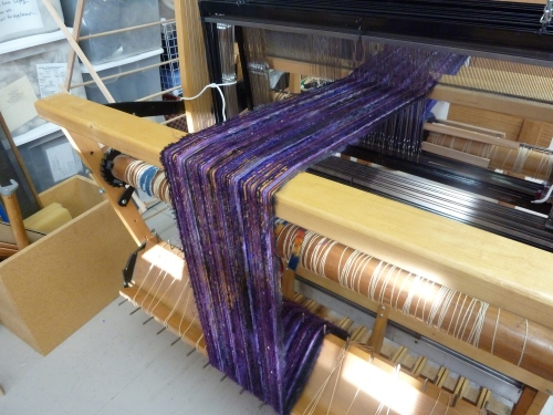 Blackberry warp on the loom