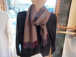 Taupe tencel woven on the Pomegranate warp