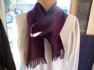 Eggplant tencel woven on the Pomegranate warp