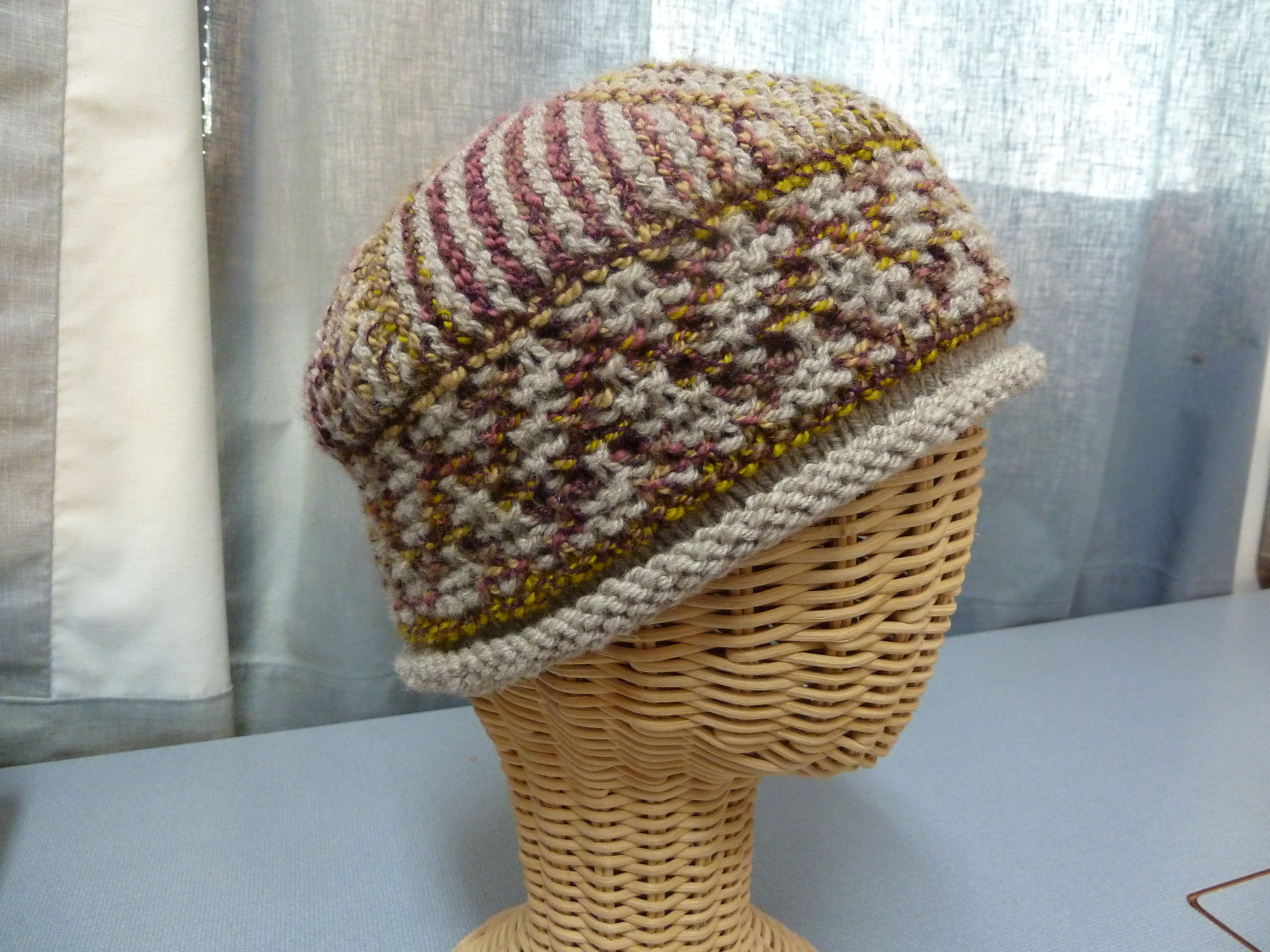 Hand knit knitted wool mohair cashmere Harrisville Designs Debbie Bliss hat cap watchcap beanie raspberry pumpkin mediumweight women OS