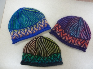 3 hats using the SAME COLOR and dyelot of Noro Silk Garden, but starting at different points in the color progression