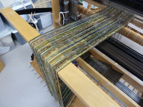 Rain Forest warp on the loom