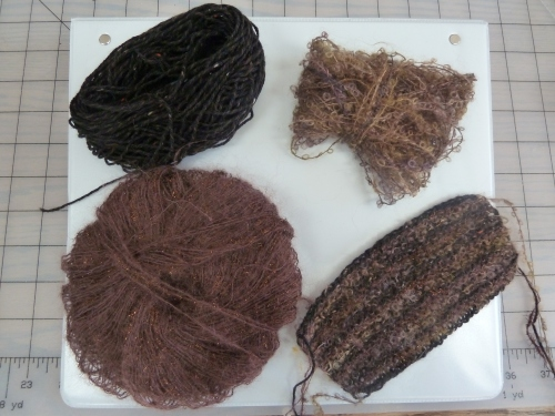 3 differently textured yarns, and the swatch