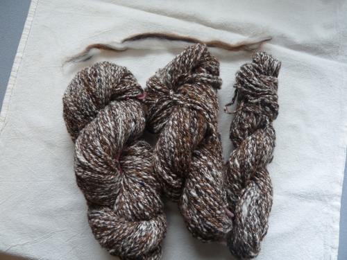 1/3 each merino, alpaca and BFL (Blue-faced Leicester)