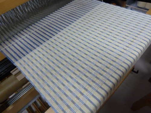 doubleweave checks towel on the loom