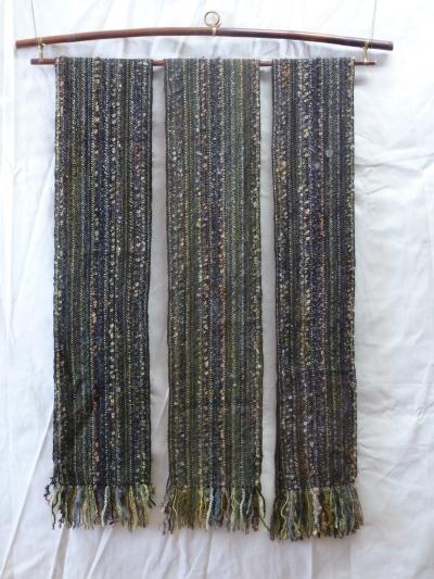 L to R: black alpaca, dark olive baby llama, very dark brown organic DK wool