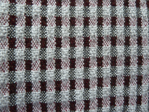 closeup of towel with red 16/2 weft