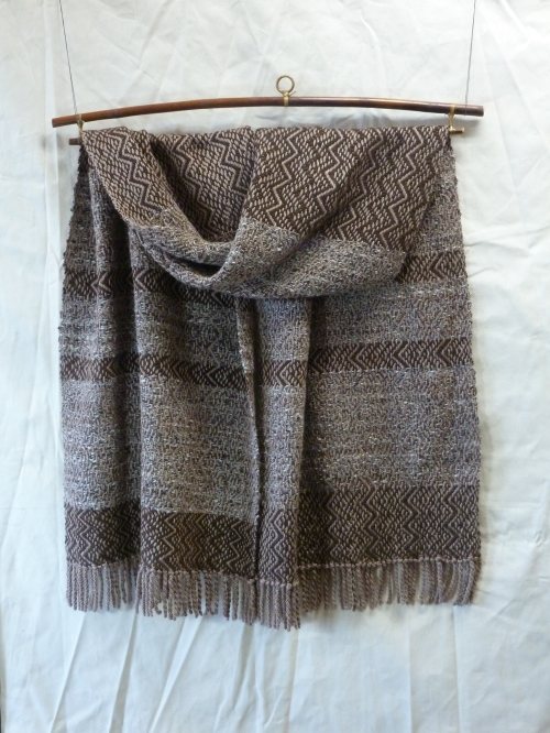 Suede warp with tweed and cinnamon alpaca/wool