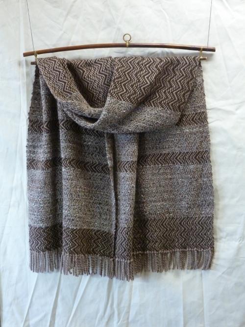 Suede warp with tweed and cinnamon alpaca/wool