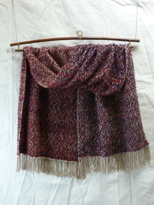 Lucy's hand-spun warp with handpaint mohair boucle