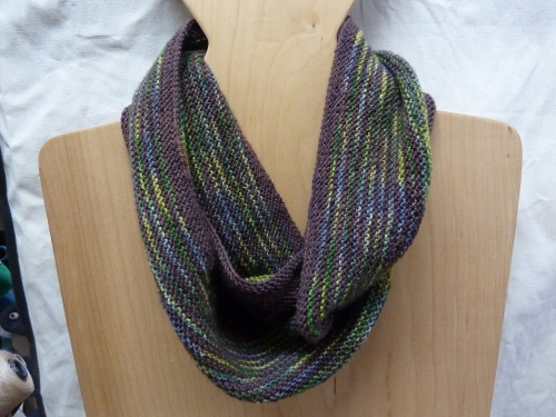 Rayas Cowl using handpaint sock yarn