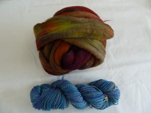 Polwarth/Silk roving dyed at camp. one finished and one yet to be spun