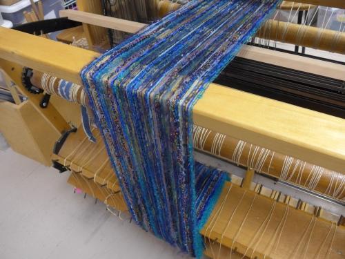 Cobalt warp on loom