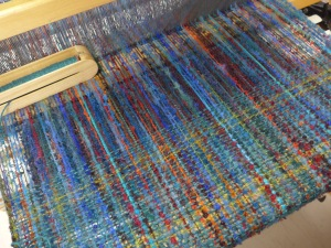Blue Parrot shawl being woven